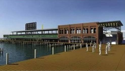 Rendering of new waterfront ballpark proposed by original owners of the Green Bay Bullfrogs