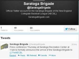 Saratoga Brigade Tweet Announcement