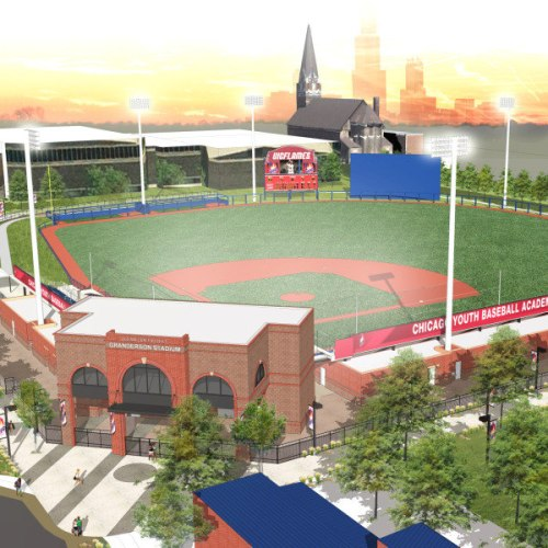 University of Illinois at Chicago rendering - Bird's eye view of Granderson Stadium with Chicago skyline