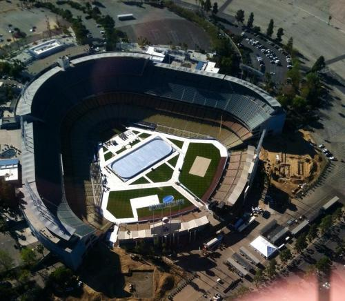 Dodger Stadium with Hockey Rink taken by friend Kurt Stelling during helicopter flyby last week
