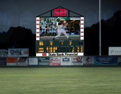 Rendering of new video board at Copeland Park, LaCrosse Loggers Twitter page