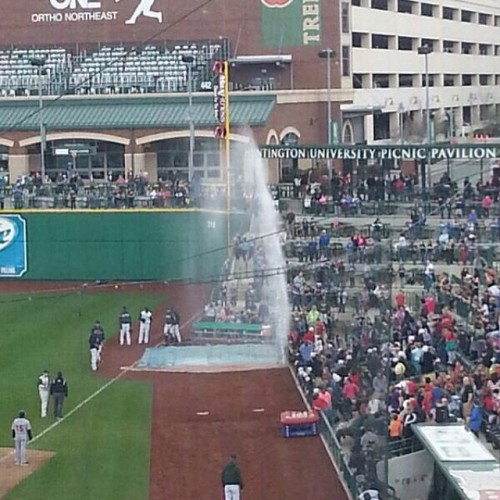 Parkview Field geyser, Fort Wayne TinCaps Facebook photo