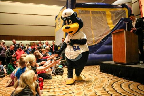 Barlee is introduced to the crowd, Kalamazoo Growlers Facebook photo