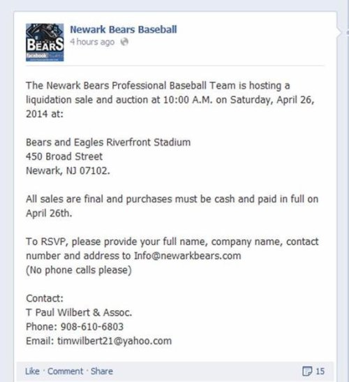 Newark Bears Liquidation Sale Announcement on Facebook 4.7.14