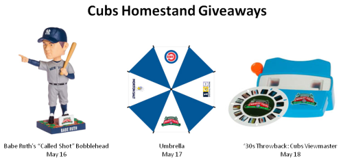 Chicago Cubs Giveaways May 16-21