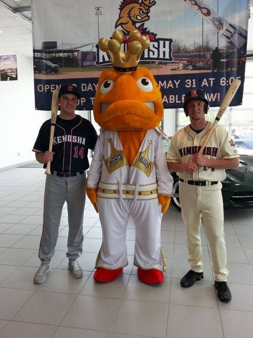Team mascot Elvis with Matt Lewer, left, and Nick Heyerdahl, right, Kenosha Kingfish Facebook photo