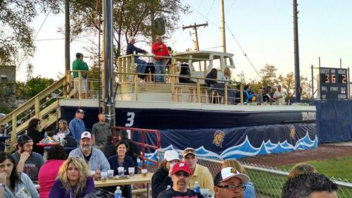Awesome Bambino boat deck on home opener, Kenosha Kingfish Twitter photo