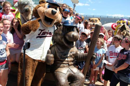 Unveiling the new T.C. Bear statue, Minnesota Twins Facebook photo