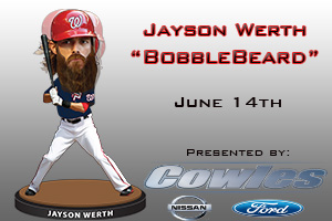 Potomac Nationals Jayson Werth BobbleBeard