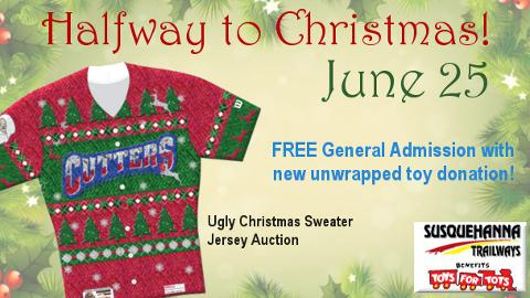 June 25 game rained out, ugly Christmas sweater jersey auction moved to August 2