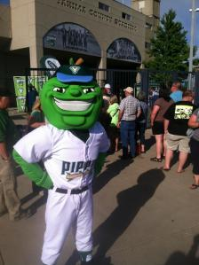 Mascot Scott T. Pippin at inaugural home opener, Yakima Valley Pippins Twitter photo