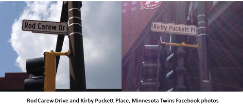 Minnesota Twins Puckett and Carew Streets from Facebook