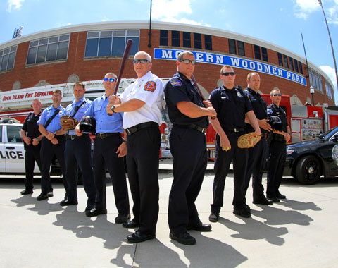Davenport and Rock Island will compete in the Battle of the Badges Saturday, July 5. The Davenport Police & Fire Departments will face the Rock Island Police & Fire Departments in a softball game from 3:45-5:00 p.m. before the River Bandits' 6 p.m. game against Wisconsin. The event will raise money for the Ronald McDonald House of Iowa City.