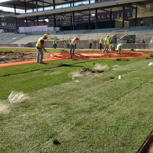 Laying of the sod at CHS Field, Lowertown Ballpark Facebook photo