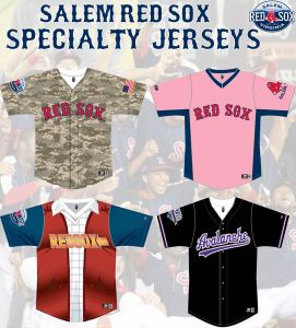 Salem Red Sox Specialty Jerseys