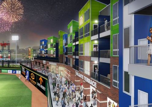 Latest rendering of The Outfield apartment building now under construction at Cooley Law School Stadium.