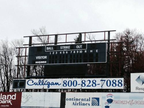 Old scoreboard at Skylands Stadium, Sussex County Miners Facebook photo