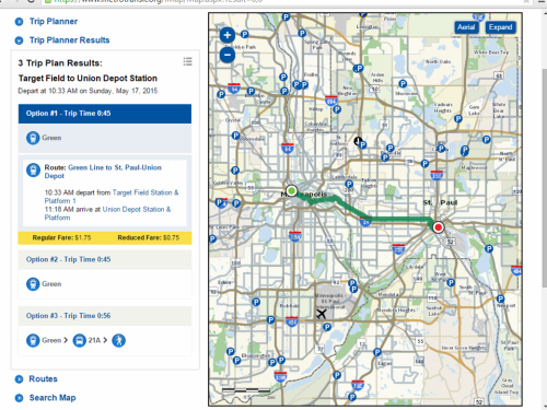 Target Field to St. Paul Union Depot map, screen shot from MetroTransit.org.