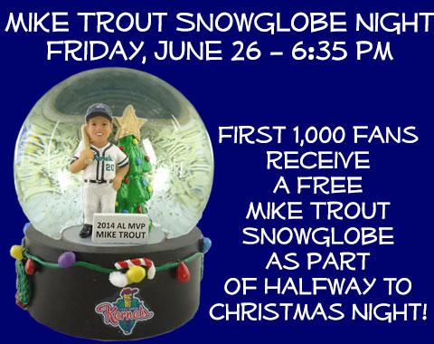 Cedar Rapids Kernels Mike Trout Snow Globe