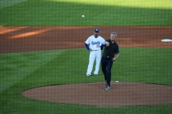 St. Paul Mayor Chris Coleman throws out the first pitch.