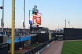 A view of the bull pens, video board and grassy berm.