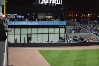 A view of the Treasure Island Resort & Casino Terrace down the first baseline at CHS Field.
