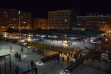 A night view of the Farmers' Market just across the street from the CHS Field main-entrance plaza.