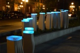 "The lighted ""Meander"" sculpture looking north up N. Broadway St. from the main-gate plaza of CHS Field."