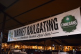 """Railgating"" signage at the Farmers' Market just across the street from CHS Field."