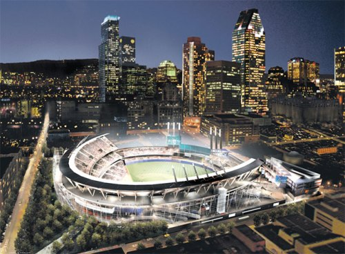 Montreal Expos Labatt Park Rendering w Night Skyline