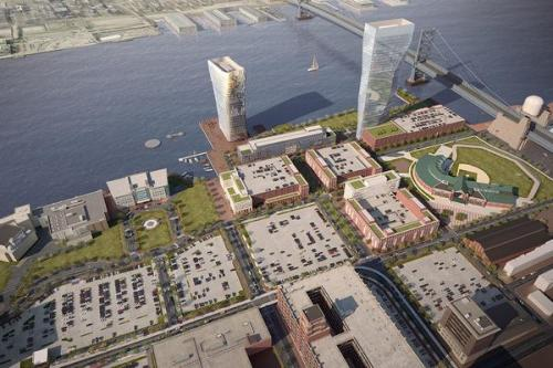 Rendering of proposed Liberty Property Trust's mixed-use Camden waterfront development, Robert A.M. Stern Architects