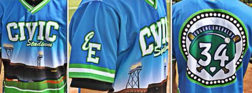 Former Civic Stadium tenant paid tribute to the destroyed ballpark on Aug. 16, Eugene Emeralds Twitter photo.