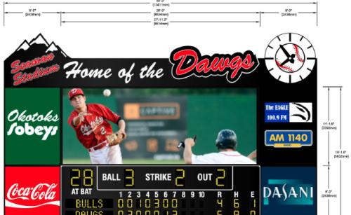 Okotoks Dawgs New Scoreboard