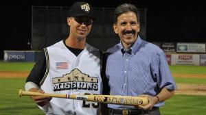 Texas League president Tom Kayser congratulates James Darnell, MVP of the 2011 All-Star Game. (San Antonio Missions)