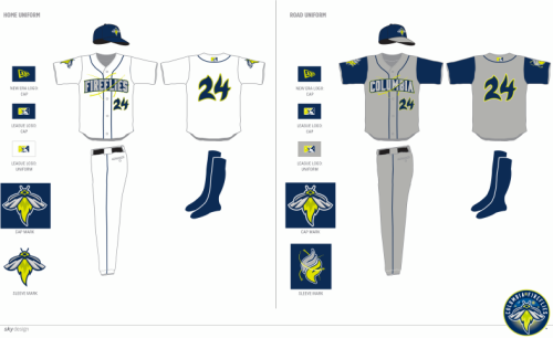 Columbia Fireflies Home and Road Unis