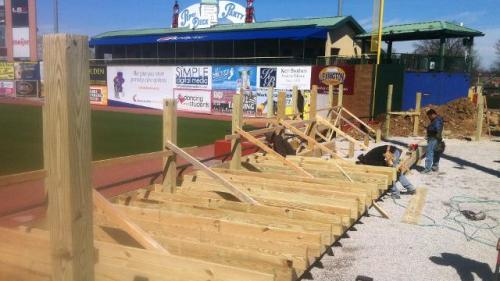 Work on the 2,000-square-foot Bullpen Patio continued this week at Whitaker Bank Ballpark. The Patio is located along the right field line. (Lexington Legends)