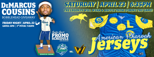 Lexington Legends Pharoah Jerseys and Cousins Bobble