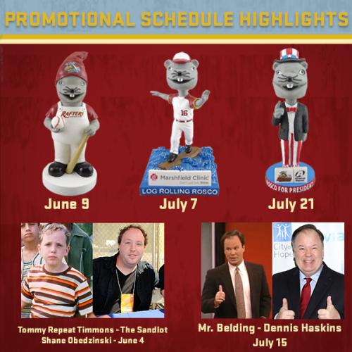 Wisconsin Rapids Rafters 2016 Promo Schedule