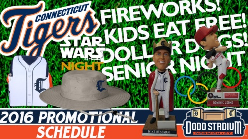 Connecticut Tigers 2016 Promo Schedule