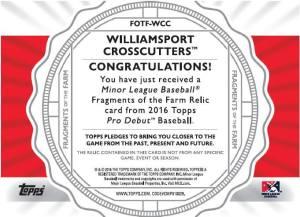 Williamsport Crosscutters Topps 2