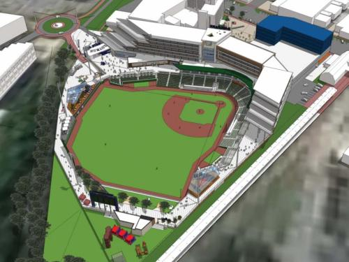 Downtown Fayetteville Ballpark Rendering - Concept Image 2, Populous and SfL+a Architects